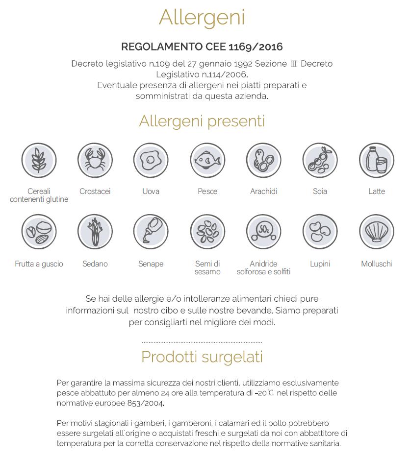 Info allergeni e surgelati